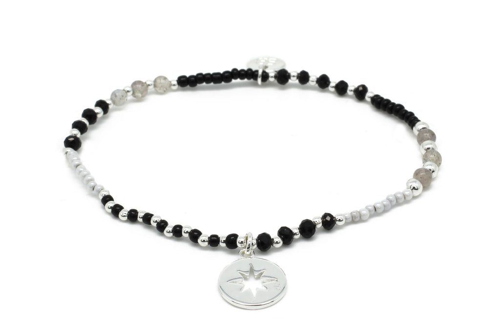 Flute Black & Grey Gemstone Stretch Bracelet - Boho Betty