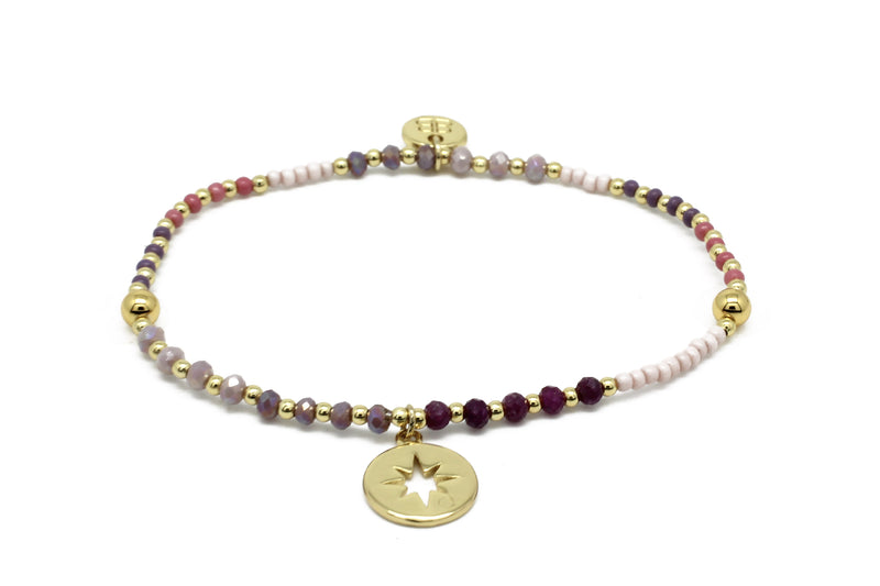 Flute Pink & Gold Gemstone Stretch Bracelet