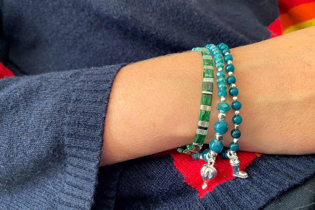 Sitar Teal Agate Gemstone Stretch Bracelet - Boho Betty