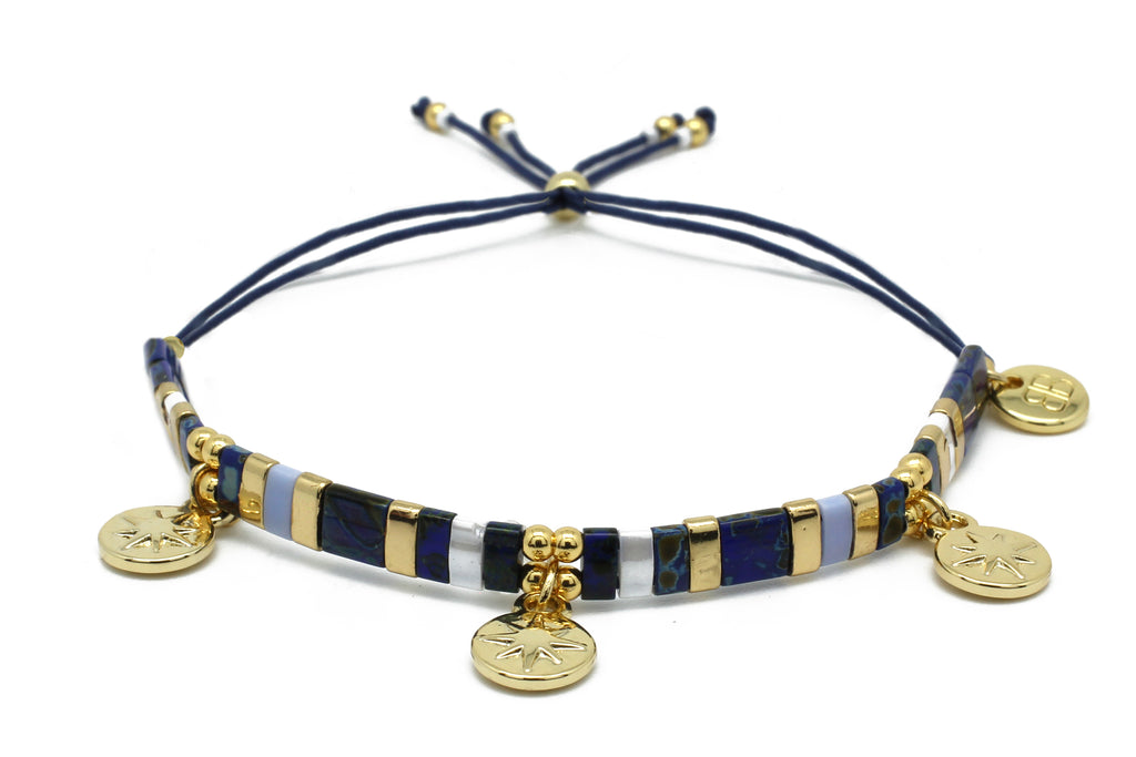 Mirage Navy Blue & Gold Tila Bead Charm Friendship Bracelet - Boho Betty