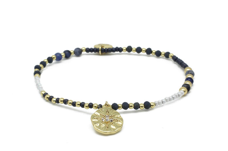 Octaban Navy Gemstone Stretch Bracelet - Boho Betty