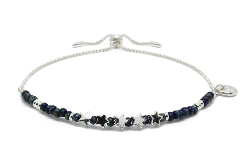 Sax Navy Gemstone & Silver Star Charm Bracelet - Boho Betty