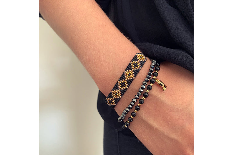 Sitar Black Stretch Bracelet