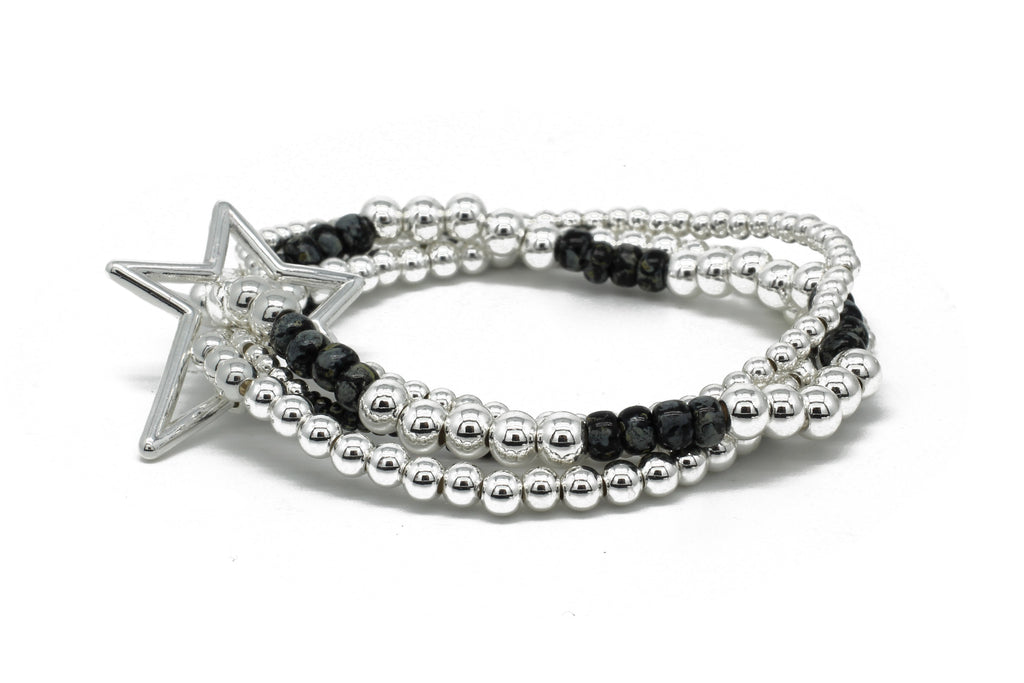 Slide 4 Layered Silver & Black Bracelet Stack with Star Fastener - Boho Betty