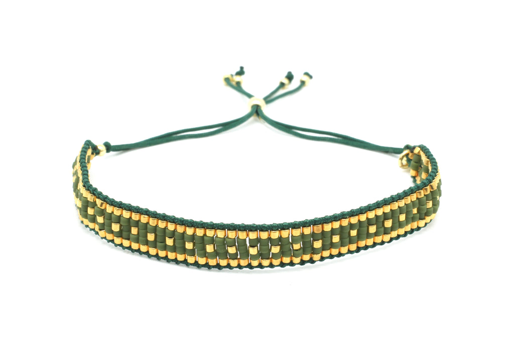 Speedway Green & Gold 5 Row Beaded Friendship Bracelet - Boho Betty