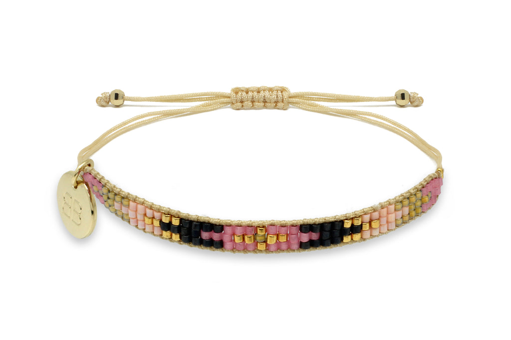 Steamroller Pink & Black Beaded Friendship Bracelet - Boho Betty