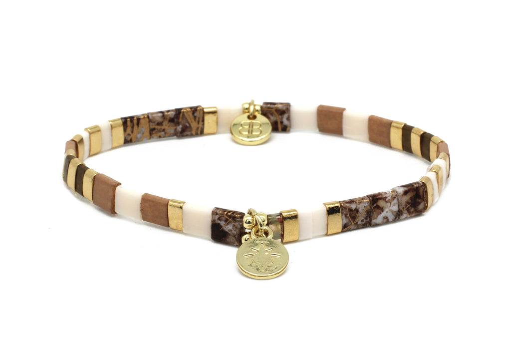 Telstar Earth Tones Tila Bead Stretch Charm Bracelet - Boho Betty