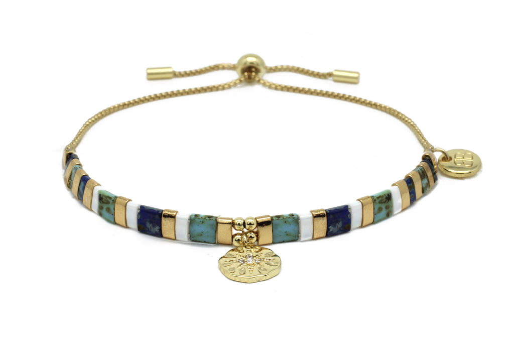 Valleri Teal & Gold Tila Bead Pull Through Bracelet - Boho Betty