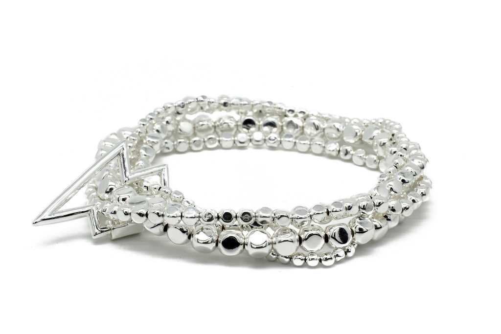 Whistle 4 Layered Silver Bracelet Stack with Star Fastener
