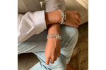 Whistle 4 Layered Silver Bracelet Stack with Lightening Bolt Fastener - Boho Betty