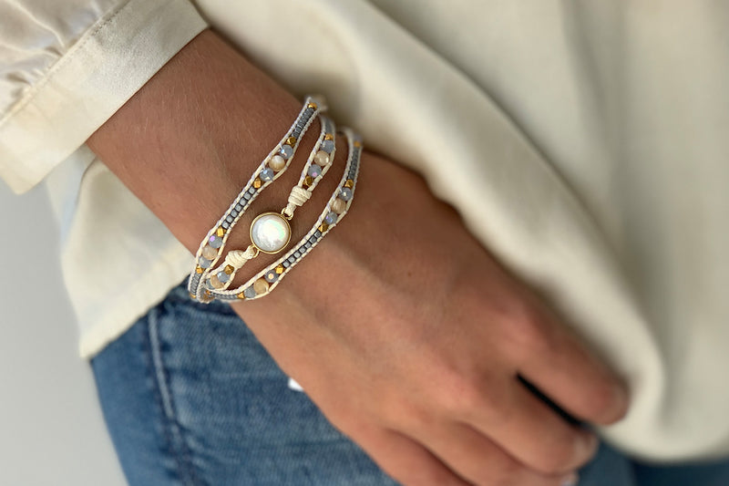 America Pearl Gemstone Wrap Bracelet - Boho Betty