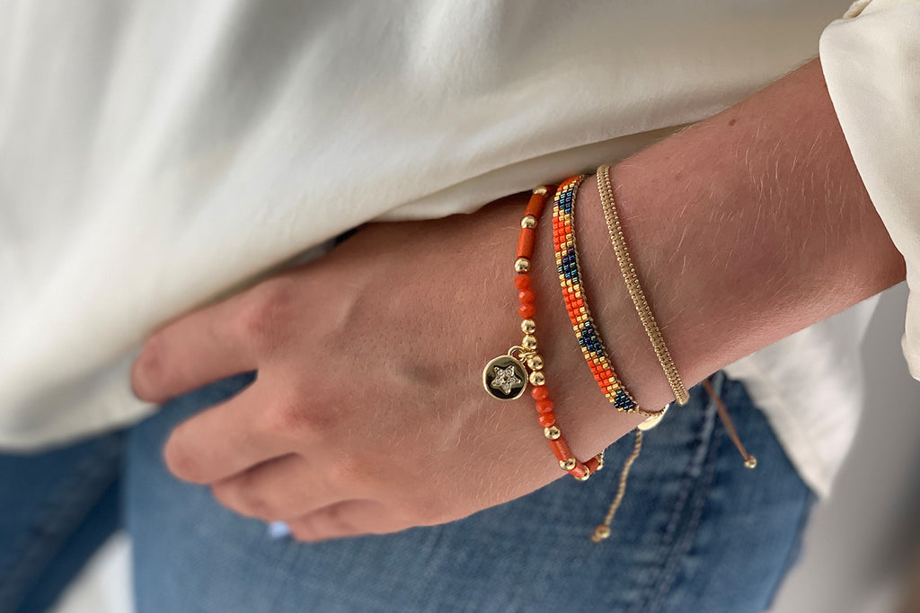 Blackstar 3 Row Orange Miyuki Bead Bracelet - Boho Betty
