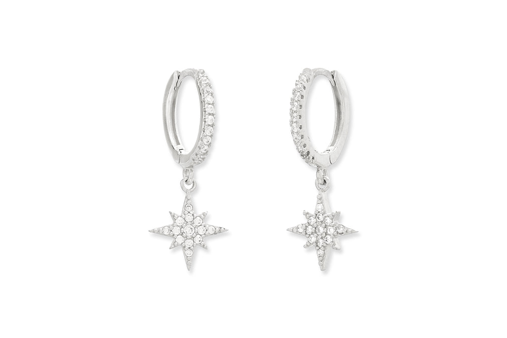 Cohan CZ Sterling Silver Hoop Star Earrings