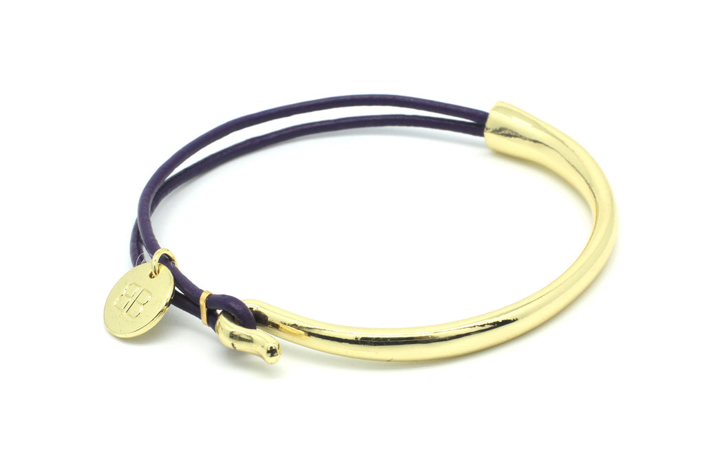 Canche Purple Leather Bangle