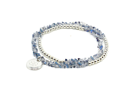 Carnation 2 Wrap Crystal Stretch Bracelet