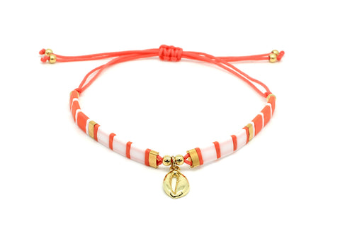 Casimiora Orange Tila Bead Shell Friendship Bracelet