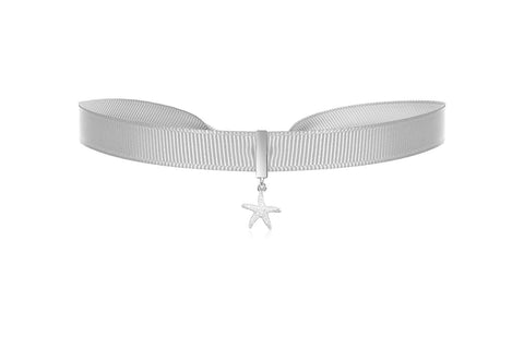 Caspian Silver Ribbon Choker with Sterling Silver Star Charm