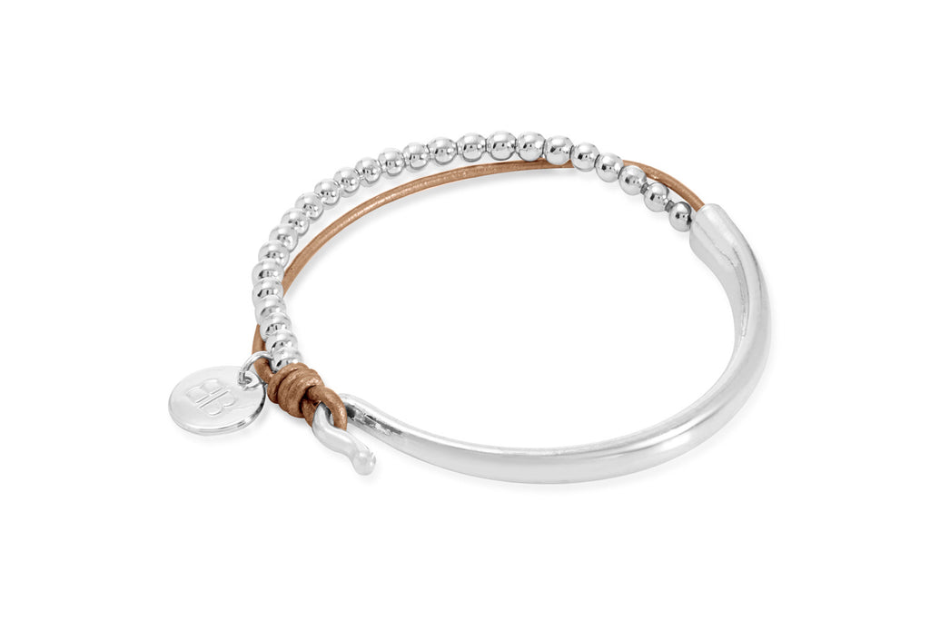 Cère Gold Leather & Silver Balls Bangle