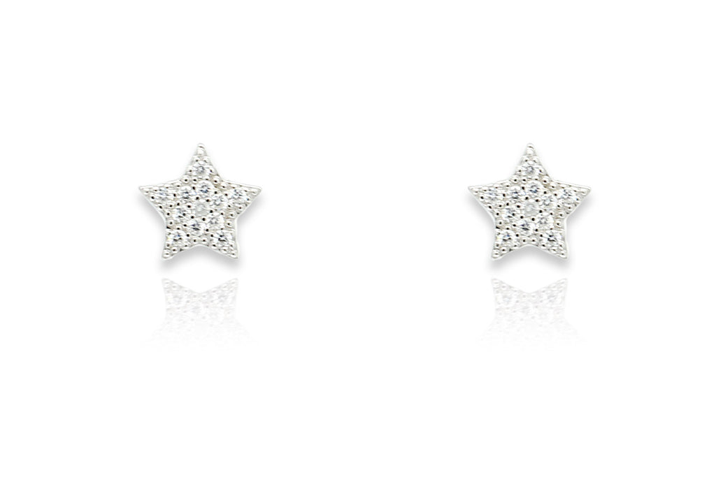 Chastain Silver CZ Star Stud Earrings - Boho Betty