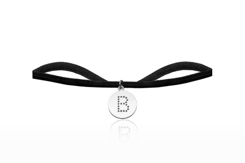 Black Velvet Choker with Letter B Charm