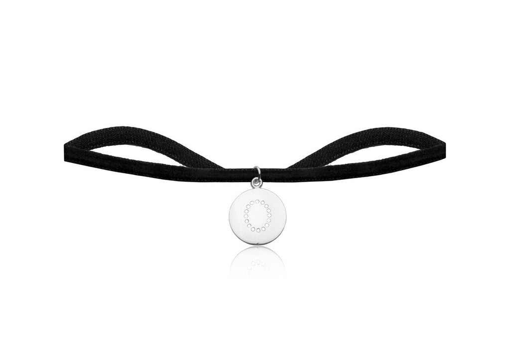Black Velvet Choker with Letter O Charm - Boho Betty