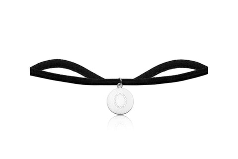 Black Velvet Choker with Letter O Charm