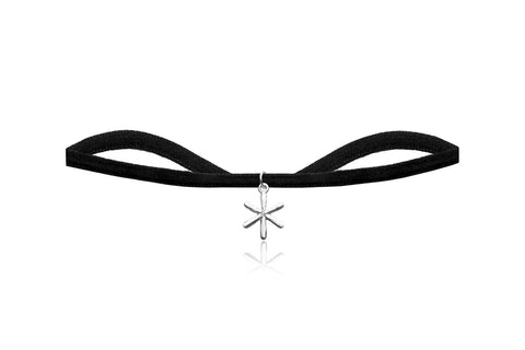 Black Velvet Choker with Silver Flower Charm