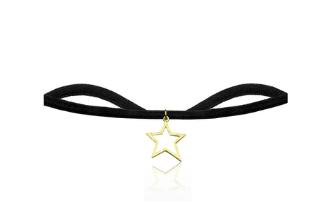 Black Velvet Choker with Gold Star Charm