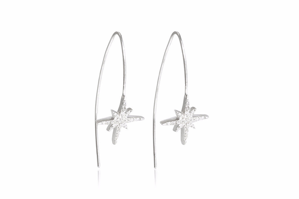 Chopra Sterling Silver Cubic Zirconia Star Thread Through Earrings - Boho Betty