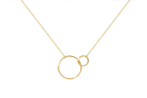 Claret Gold on Sterling Silver Double Circle Necklace