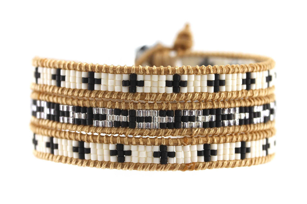 Cleo Laine Leather 3 Wrap Bracelet with seed beads