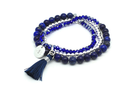 Cliantha 3 Wrap Blue Stretchy Bracelet
