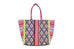 Codolar Multi Coloured Woven Large Tote Bag with Neon Yellow Fringing