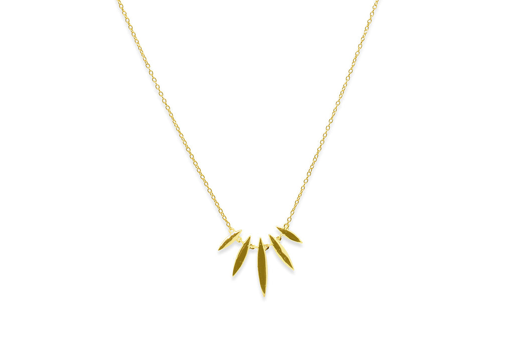 Cognac Gold Multi Spear Necklace