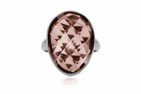 Collins Silver Adjustable Ring with Smokey Quartz