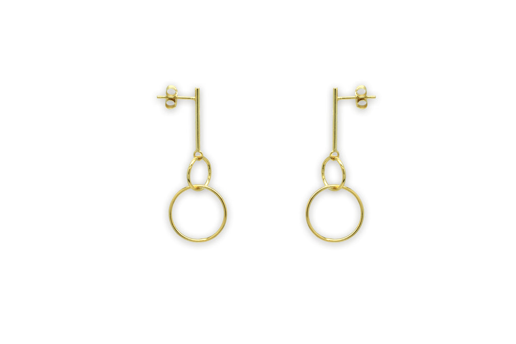 Constance Gold 2 Circle Earrings - Boho Betty