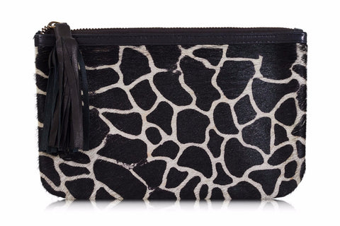 Costilla Animal Print Leather Clutch Bag