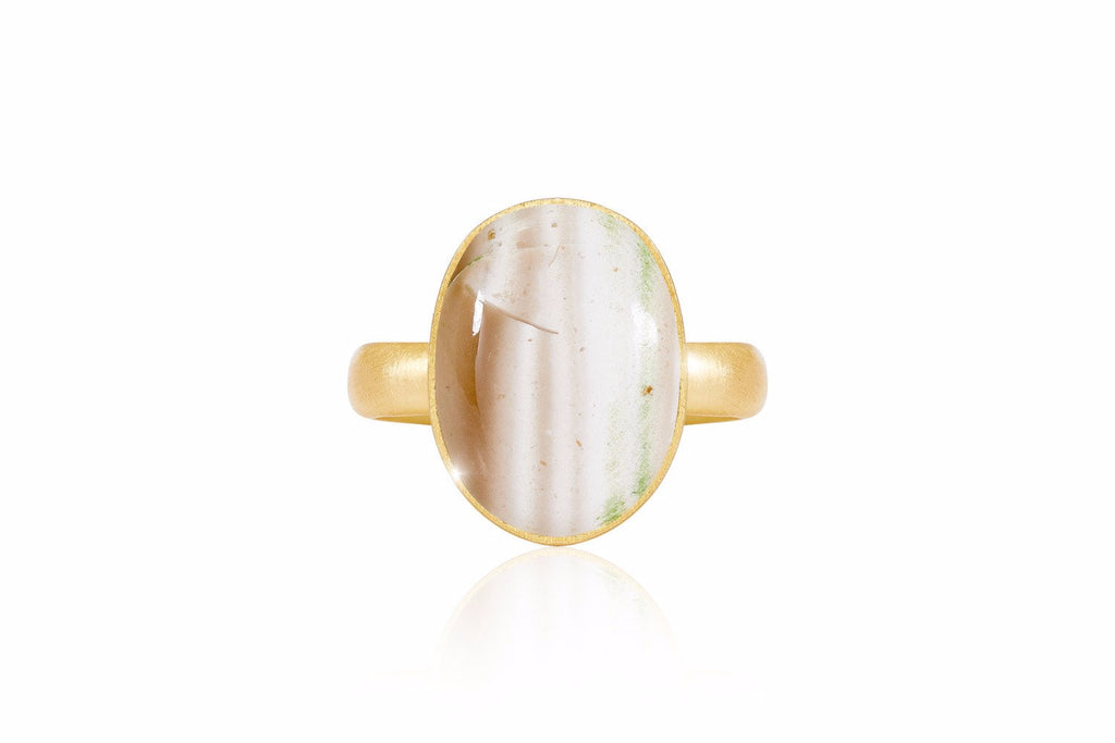 Cotillard Gold Adjustable Ring with Striped Flint