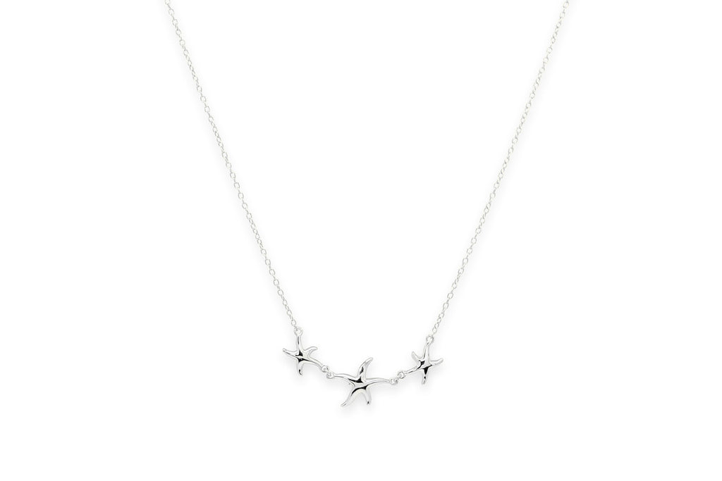 Cuban Silver Starfish Trio Necklace
