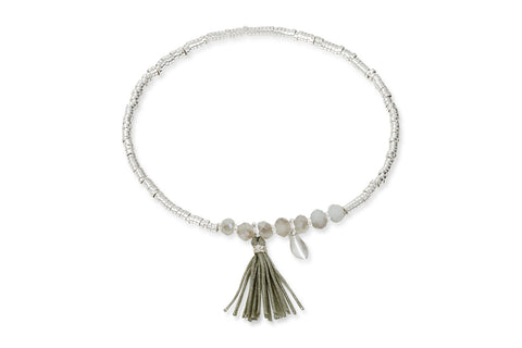 Cyllene Silver Tassel Stretch Bracelet with Leaf Charm