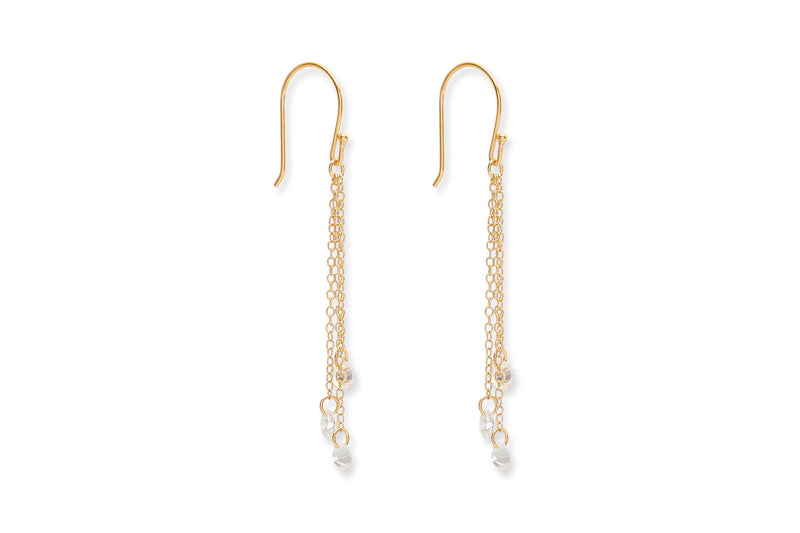Deutch Gold Crystal Drop Earrings