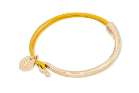 Daubs Mustard Leather Gold Bangle