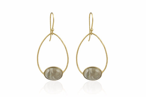 Deschanel Gold Drop Earrings with Striped Flint
