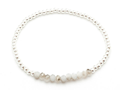 Despina Silver & White Crystal Stretch Bracelet