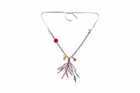 Diana Multi Coloured Beaded Necklace with Pompom & Tassels