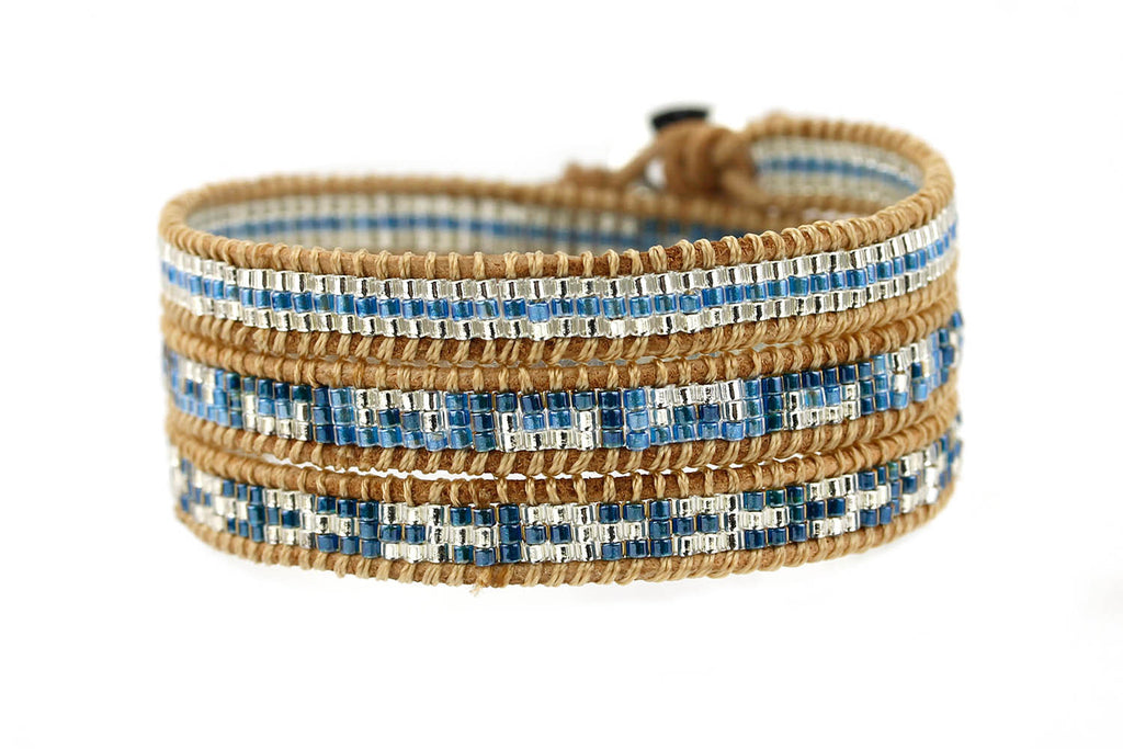 Dinah Washington 3 Wrap Leather Bracelet with Teal and Silver Seed Beads