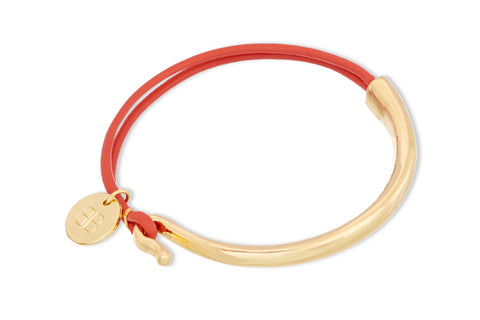 Dives Orange Leather Tassel Bangle Gift Set