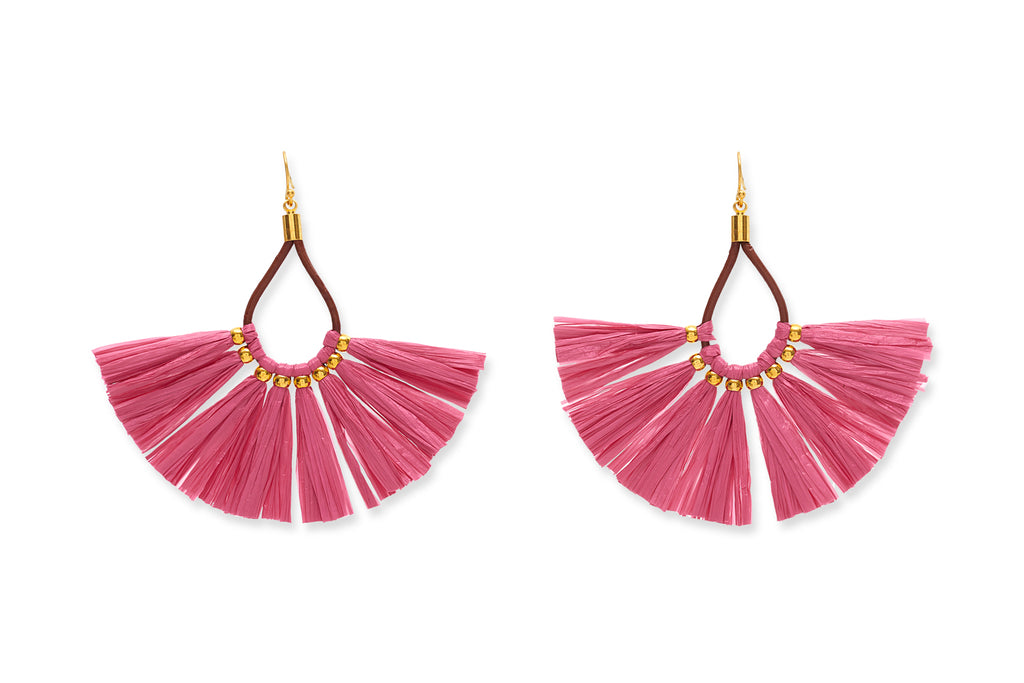 Ecosia Fuschia Fan Tassel Recycled Earrings