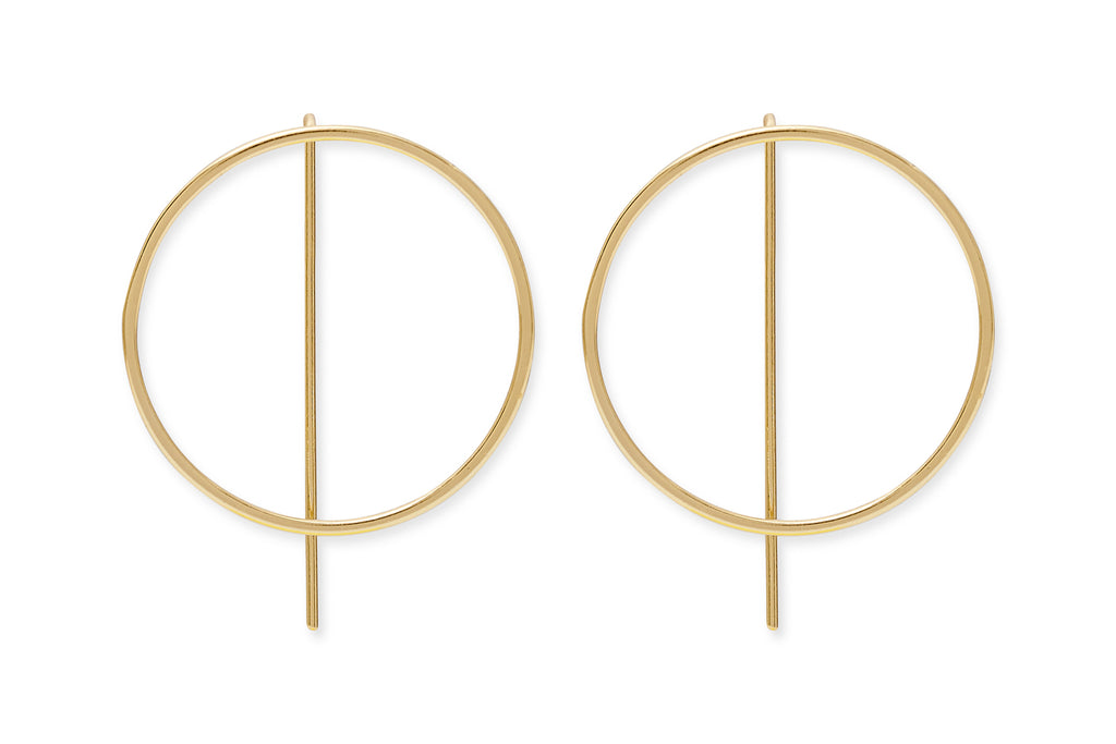 Emmanuel Gold on Sterling Silver Circle Thread Through Earrings