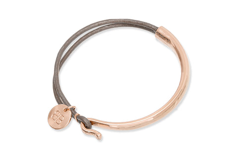 Erdre Taupe Leather & Rose Gold Bangle